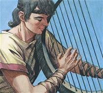 David playing harp #3